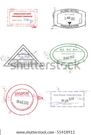Passport stamps from Asia. Grungy page with scalable grunge stamps (not real). Asia destinations: Bangkok (Thailand), Hong Kong, Jakarta (Indonesia), Tokyo (Japan), Singapore, Manila (Philippines).