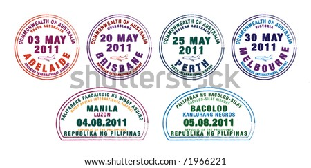 Passport stamps from Australia and the Philippines in vector format.