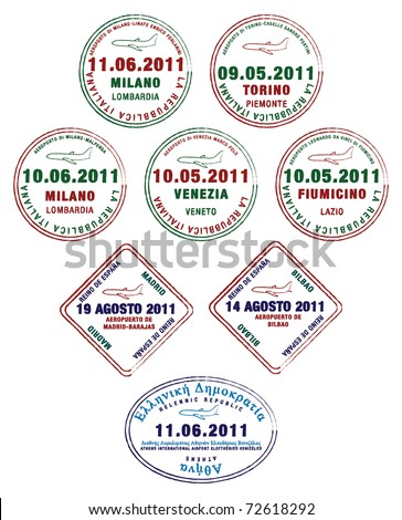 Passport stamps from France, Italy and Greece in vector format. - stock vector