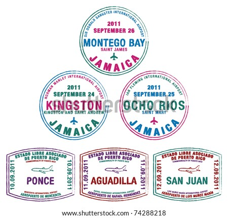 Passport stamps from Jamaica and Puerto Rico in the Caribbean in vector format.