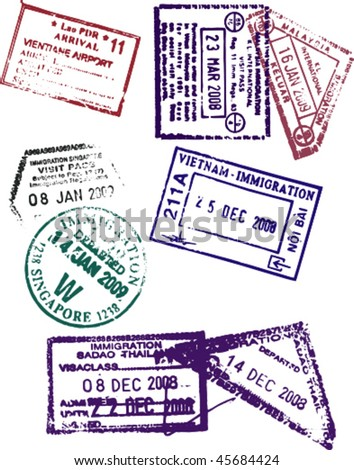 Passport Stamps from various South East Asian Countries