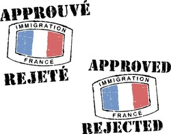 Passport stamps ''Immigration-approved/rejected-France''. French and english inscription.
