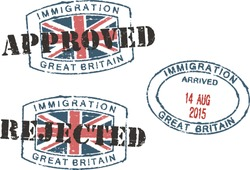Passport stamps ''Immigration-approved/rejected-Great Britain''.