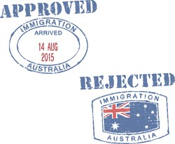 Passport stamps ''Immigration-Australia-approved/rejected''.