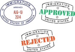 Passport stamps ''Immigration-United States-Approved/Rejected''