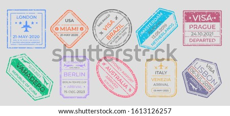 Passport stamps. International travel visa marking, business travel and immigration vintage labels. Vector airport stamp set world city travel arrivals symbol stamping traveling on gray background
