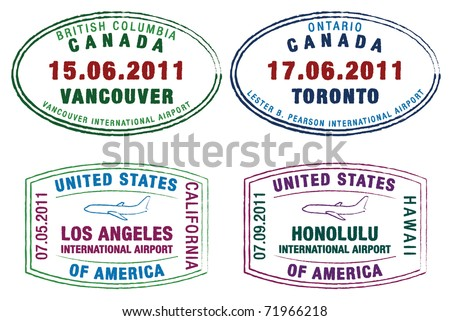 Passport stamps of the US and Canada in vector format.