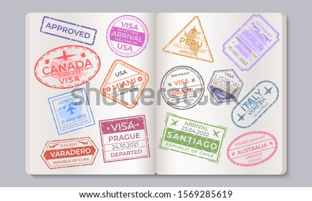 Passport stamps. Travel and immigration marks collection, arrival and departure airport stamps. Vector countries isolated signs in passport, as a concept of security and entry control
