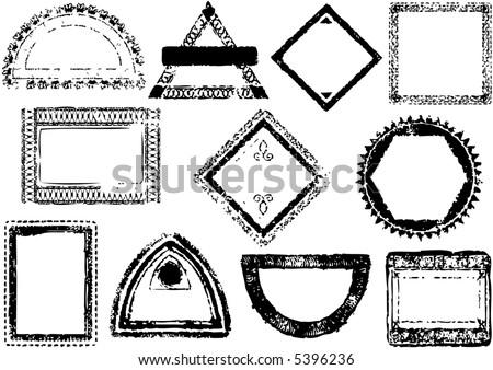 passport style stamp frames - illustration - vector