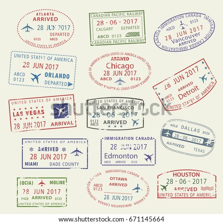 passport travel stamps icons