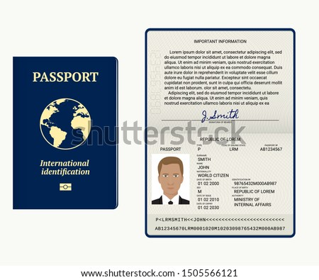 Passport. Vector illustration. Cover and identity pages. Document template isolated on white. Passport pages with sample data, photo and signature.  Tourism or personal data verification concept.