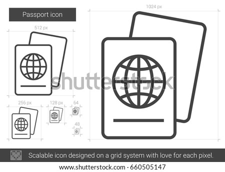 Passport vector line icon isolated on white background. Passport line icon for infographic, website or app. Scalable icon designed on a grid system.