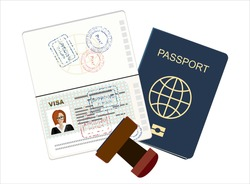 Passport with biometric data. Identification Document and stamp Flat Vector Illustration