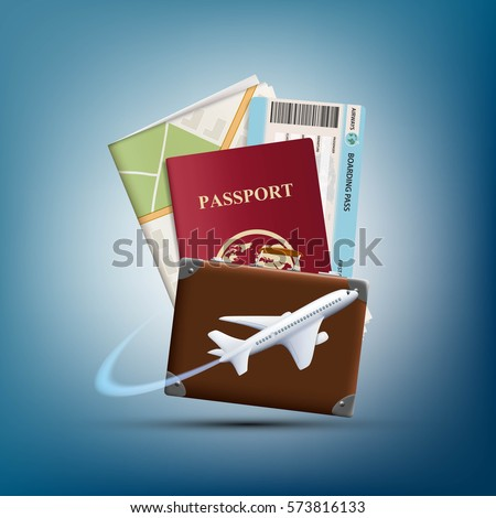 Passport with ticket and map. Plane flies round suitcase. Travel concept background. Stock vector realistic illustration.