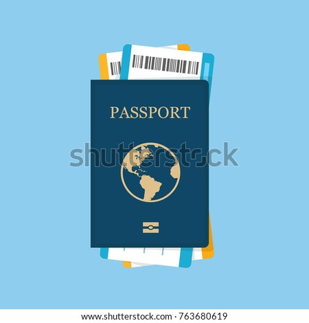 Passport with tickets icon vector illustration isolated on background. Concept icons travel and tourism. International passport flat illustration.