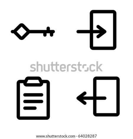 stock vector : Password, login, signin, logout icons. Icons are aligned to