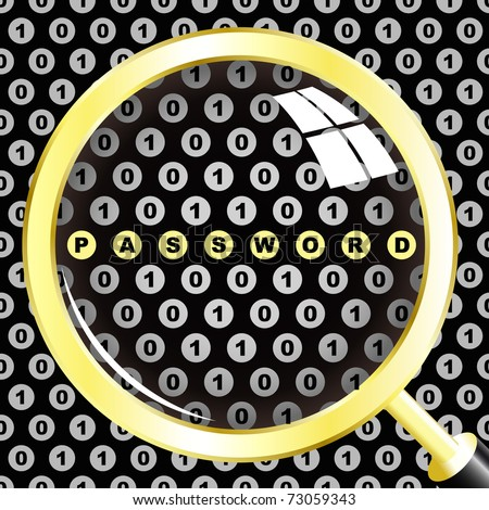 PASSWORD. Magnifying glass over binary code. Vector illustration.