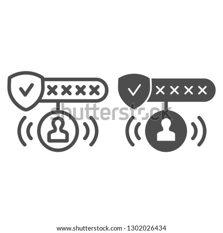 Password protected line and glyph icon. Password authorization vector illustration isolated on white. Strong password outline style design, designed for web and app. Eps 10.