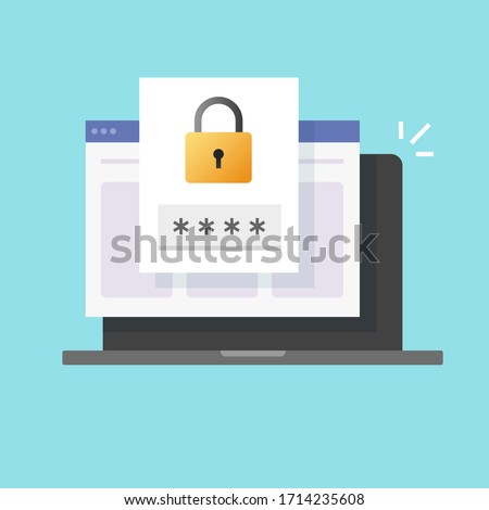 Password security access website notice on laptop computer isolated icon or verification code web internet notification on pc screen for authentication vector flat illustration, private authorization