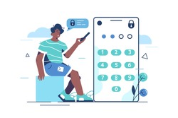 Password security system vector illustration. Man entering security code on smartphone flat style concept. Verification code, notification and private authorization idea. Isolated on white
