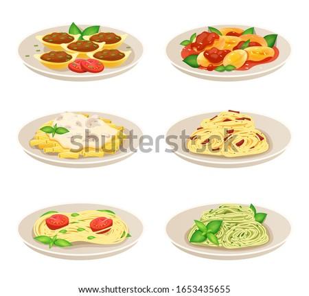 Pasta dish Italian cuisine, spaghetti restaurant menu, isolated set on white, vector illustration. Traditional European food, Italian dish pasta with pesto sauce, fresh basil and tomato. Tasty lunch