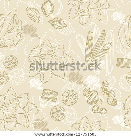 Pasta hand-drawn seamless pattern on a beige background