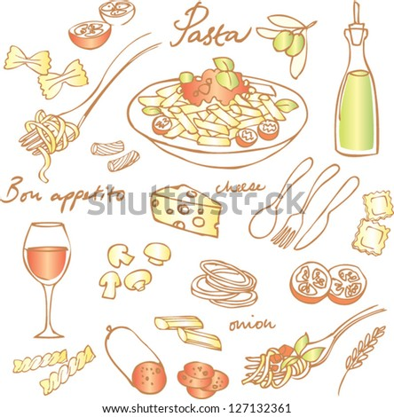 Pasta & Italian food vector set