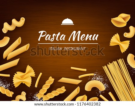 Pasta on table. Italian traditional food macaroni spaghetti fusilli with white flour for cooking vector realistic background. Macaroni and spaghetti food, italian pasta cooking illustration