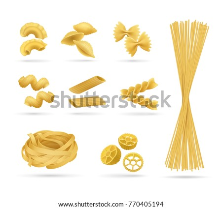 Pasta set, realistic style. Vector illustration of pasta different kinds. Italian cuisine, wheat flour products