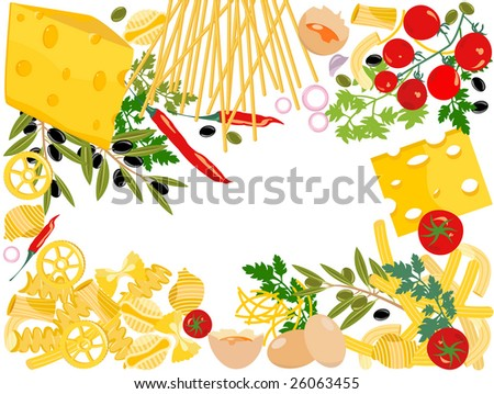 Pasta, vector mixed pasta frame. - stock vector