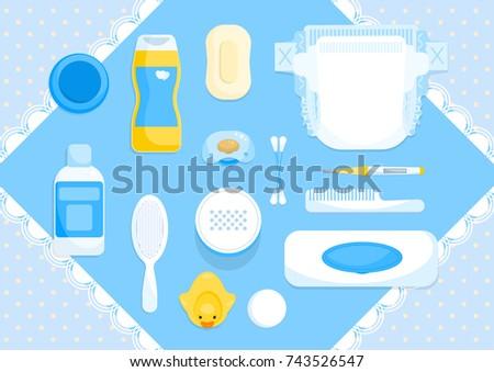 Pastel blue baby items. Sweet bath baby accessories on blue background. Baby care supplies. Vector illustration.