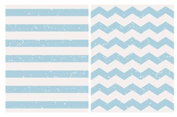Pastel Blue Grunge Seamless Geometric Vector Patterns. Light Blue Stripes and Chevron Isolated on a Off-White Background. Simple Cracked Print. Cute Zigzags Backdrop. Striped Repeatable Background.