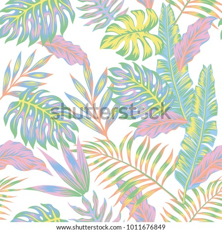 Pastel color jungle Seamless tropical exotic vector pattern on the white background