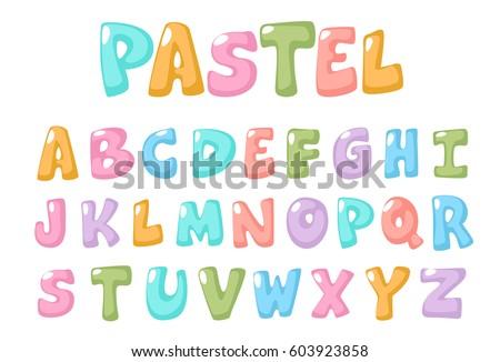 pastel color kid font