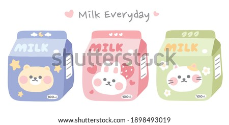 Pastel color.Set of cute cartoon animal on milk box.Bear,rabbit,cat doodle.Milk everyday writing.Kawaii.Character design collection.Hand drawn.Kid graphic.Sticker.Vector.Illustration.