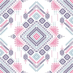 pastel color tribal vector seamless pattern with doodle elements. aztec fancy abstract geometric art print. ethnic hipster background. hand drawn. Wallpaper, cloth design, fabric, tissue, textile