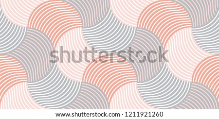 Pastel color vintage 60s style geometric seamless pattern. Striped wavy repeatable motif for fabric, wrapping paper.