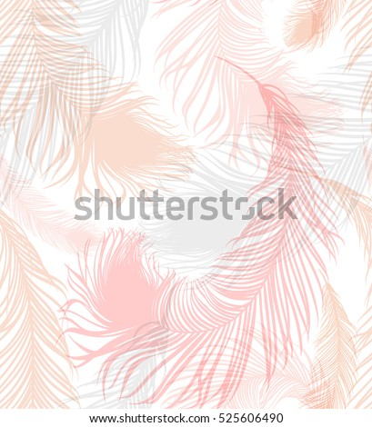 Pastel-colored seamless feather pattern. Seamless background with feathers of bird. Repeating texture. Boho style