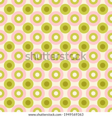 Pastel Colored Small Scale Optical Geo Circles Vector Seamless Pattern. Retro 70s Style Nostalgic Fashion Textile Background. Summer Resort Print. Micro Geometric Texture Stockfoto ©