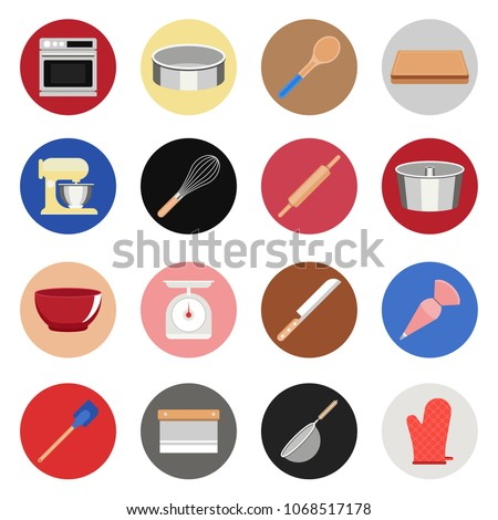 Pastel colour Baking and Cooking Equipments Icons; Oven, Spoon Stand mixer, pan baking, knifes