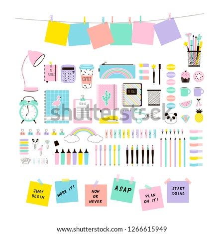 pastel colours cute Office Stationery and School Supplies set, Flat Vector Graphics, Planner clip art, back to school design. Isolated on white.