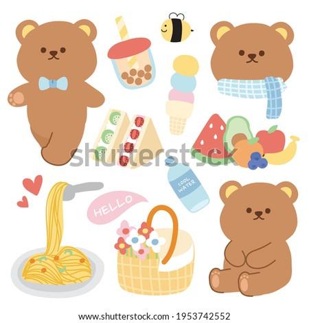 Pastel concept.Cute bear with breakfast picnic cartoon.Animals character design.Bubble milk tea,fruits,sandwich,water,bee.Kid graphic design.Art.Image.Sticker.Isolated.Kawaii.Vector.Illustration.