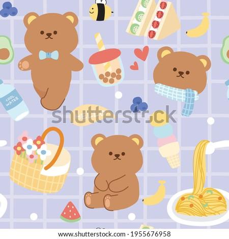 Pastel concept.Seamless pattern of cute bear with breakfast picnic cartoon.Animals character.Bubble milk tea,fruits,sandwich,water,bee.Kid graphic design.Art.Image.Sticker.Kawaii.Vector.Illustration.