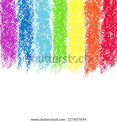 Pastel crayon painted rainbow, vector image