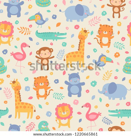 Pastel cute jungle animals with flower and leaf seamless pattern background