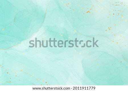Pastel cyan mint liquid marble watercolor background with gold lines and brush stains. Teal turquoise marbled alcohol ink drawing effect. Vector illustration backdrop, watercolour wedding invitation.
