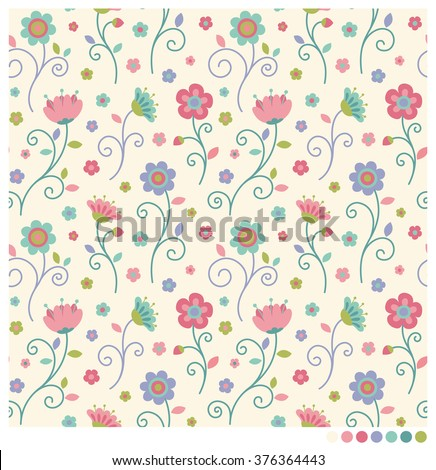 pastel floral seamless vector
