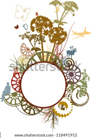 Pastel frame illustrated with plants and animals