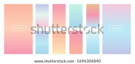 Pastel gradient backgrounds vector set. Soft tender pink, blue, yellow, turquoise gradients. Light pale color abstract background for app, web design, webpages, banners, greeting cards etc.