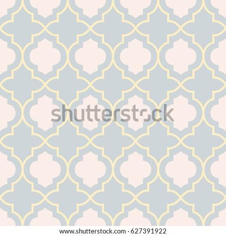 Pastel gray traditional geometric quatrefoil trellis pattern wallpaper. Vector textile rug or carpet background.
